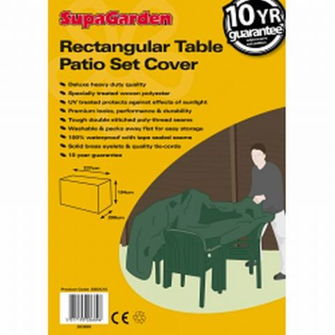 Heavy Duty Rectangle Garden Table & Chairs Cover Extra Large - 10 Year Guarantee